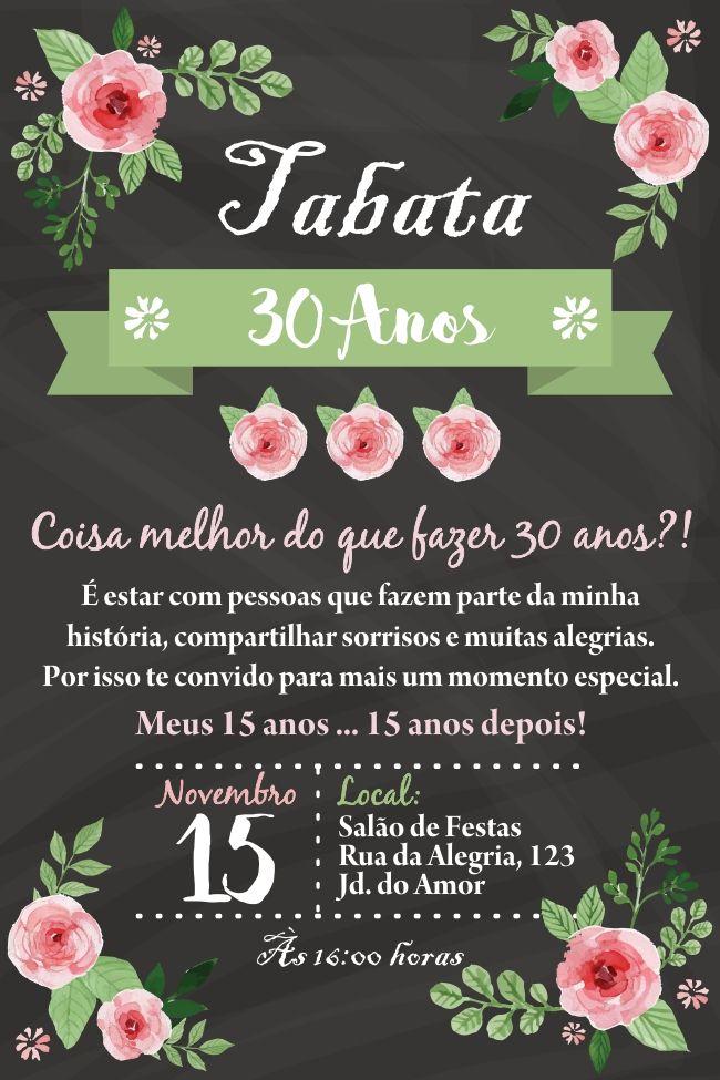 convite aniversario 30 anos adulto