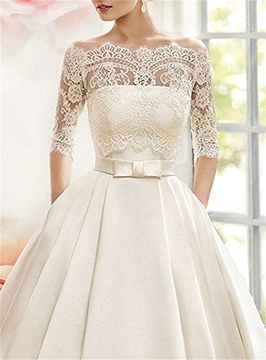 Cloverbridal Damen Prinzessin Hochzeitskleider Bateau 3 4 Arm Brautkleider Hochzeitskleider A Linie Langa Kleider Hochzeit Armelhochzeitskleider Hochzeitskleid