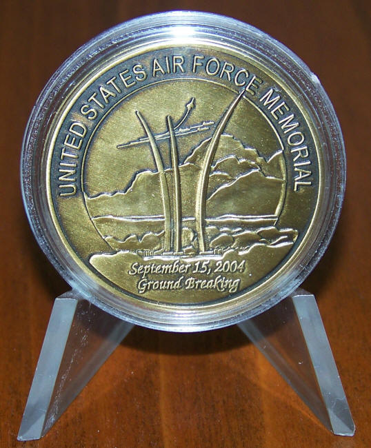 United States Air Force Memorial Challenge Coin in Stand