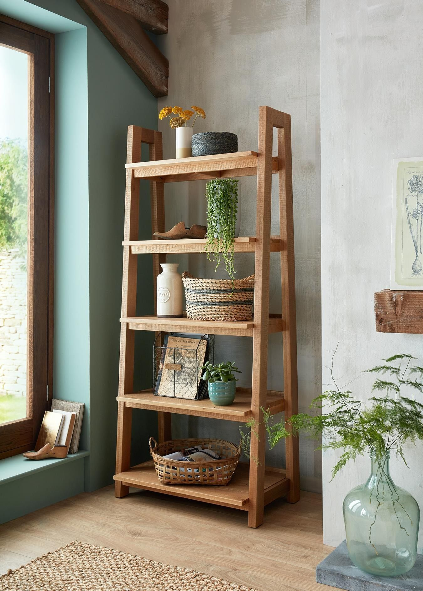 Saxon Rough Sawn Oak Open Bookcase Ladder Display Unit Open