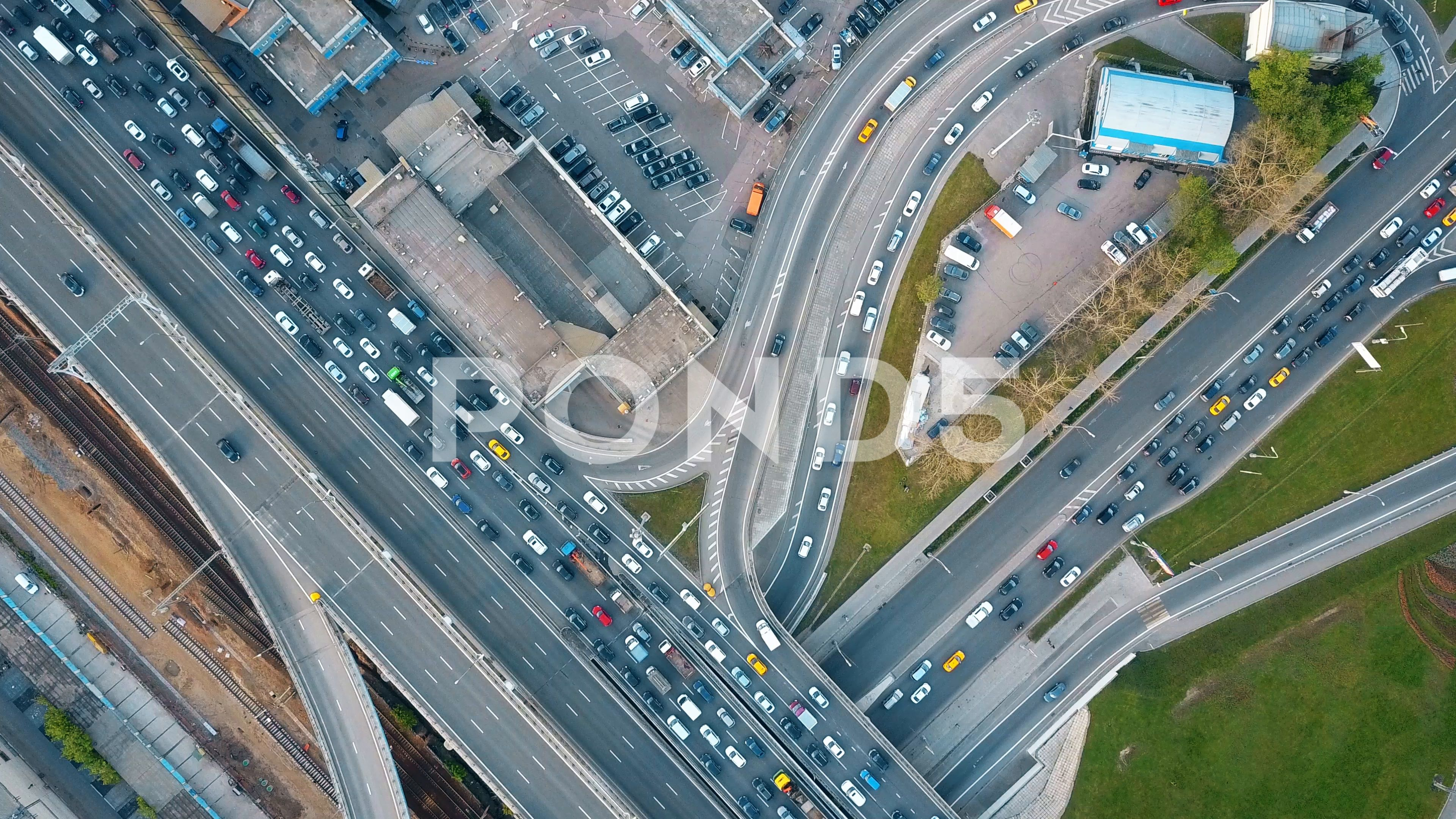 Aerial Top Down View Of Traffic Jam On A City Car Road In The Rush Hour 4k Clip Stock Footage Traffic Jam City Aerial Aerial City Car Traffic