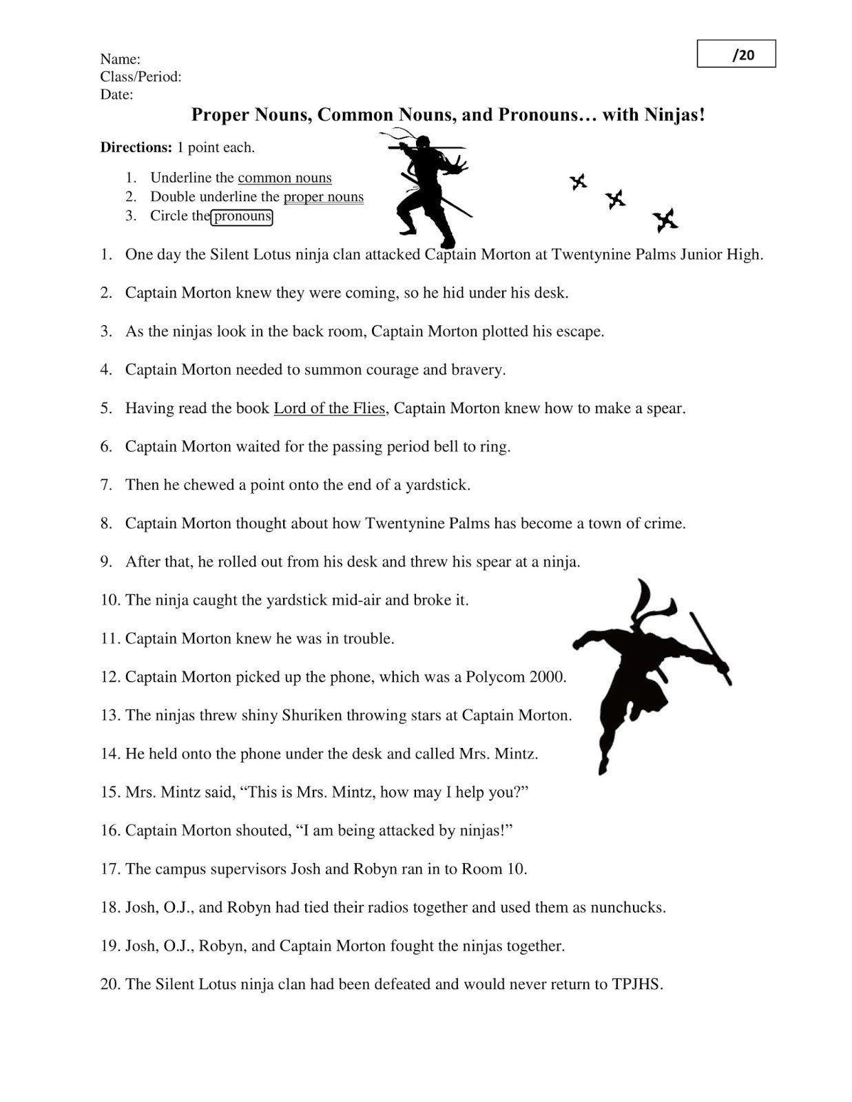 Grammar Ninja Worksheet Answers Night Ninjas Worksheet In