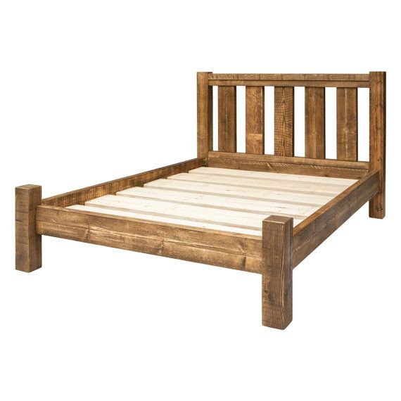 Bed Frame Made From Solid Chunky Wood In A Choice Of Sizes