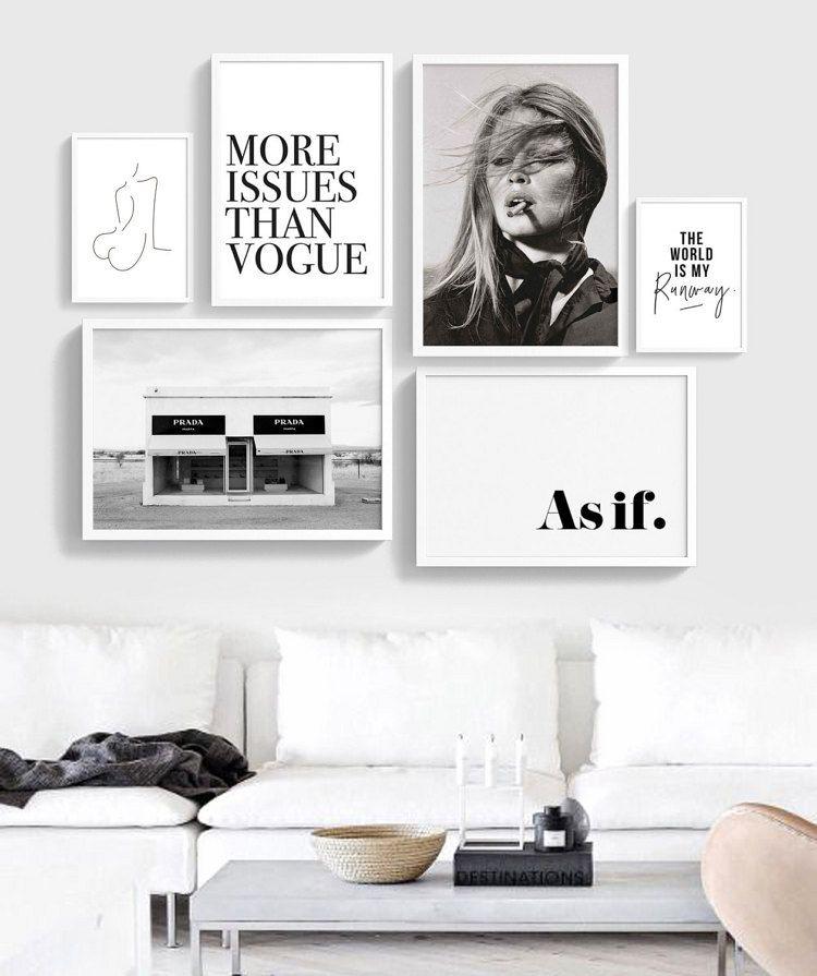 Fashion Gallery Wall Printable Set Of 6 Ot Theprintableconcept Parete Del Soggiorno Idee Muro Camera Da Letto Parete Incorniciata