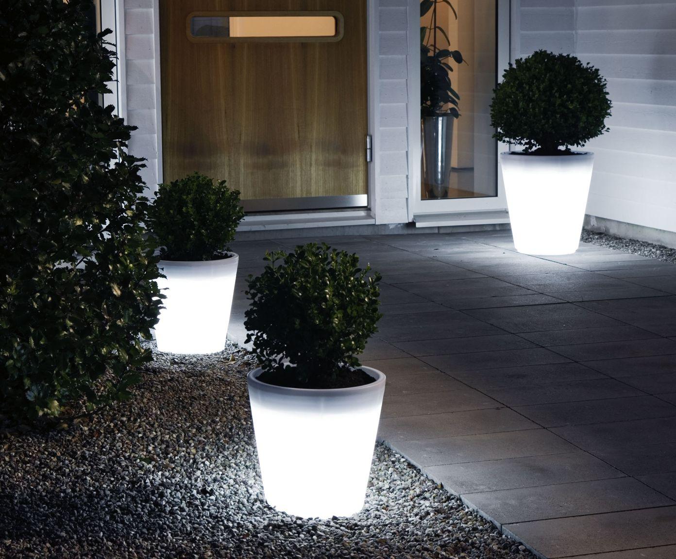 Vaso per piante con luce a led assisi bianco cm dalani