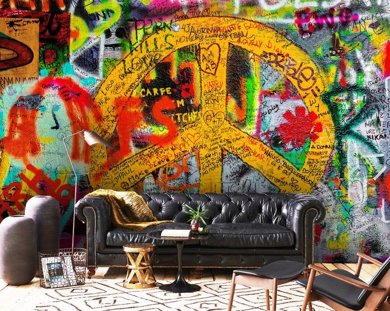Wallpaper Graffitistreet Artremovableadhesive Vinylpeel Etsy Graffiti Wallpaper Stick Wall Art Graffiti
