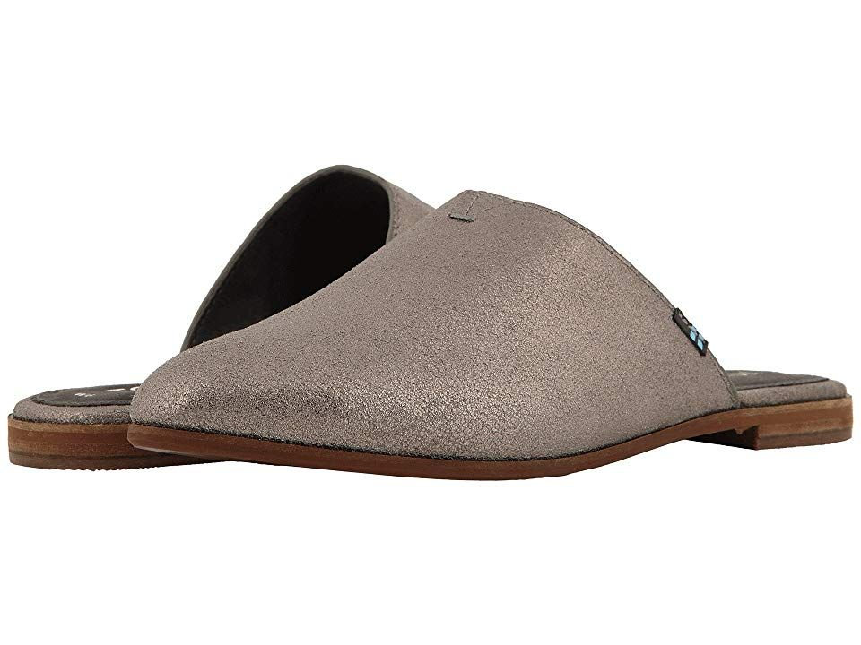 TOMS Jutti Mule Pewter Metallic Leather Womens Slip on Shoes With every pair of shoes you purchase TOMS will give a new pair of shoes to a child in need One for One The c...