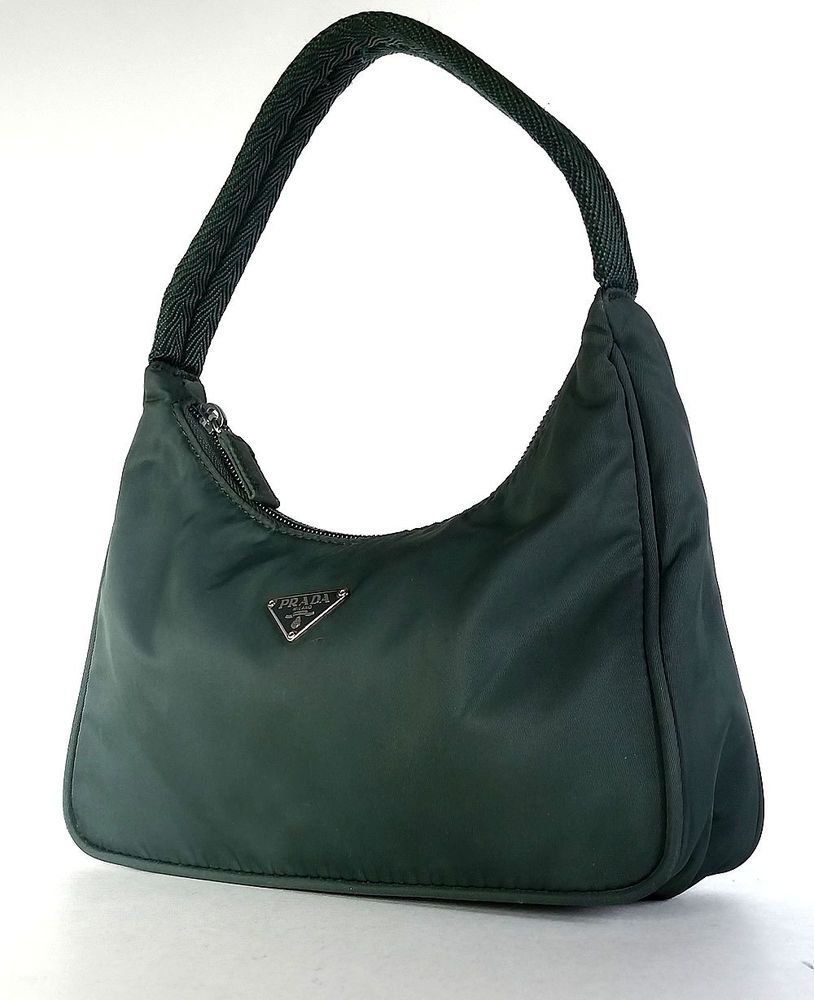 b0cd6130a350 PRADA Nylon Bag Tessuto Sport MV515 Mini Pouchette Bag Military Green  *PRIMO* #PRADA #Pouchette