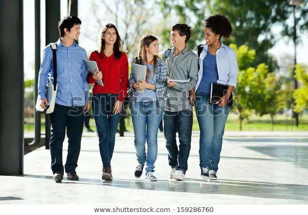 Stokovaya Fotografiya Full Length Happy College Students Walking Redaktirovat 159286760 Student Saving College Tuition Good Student
