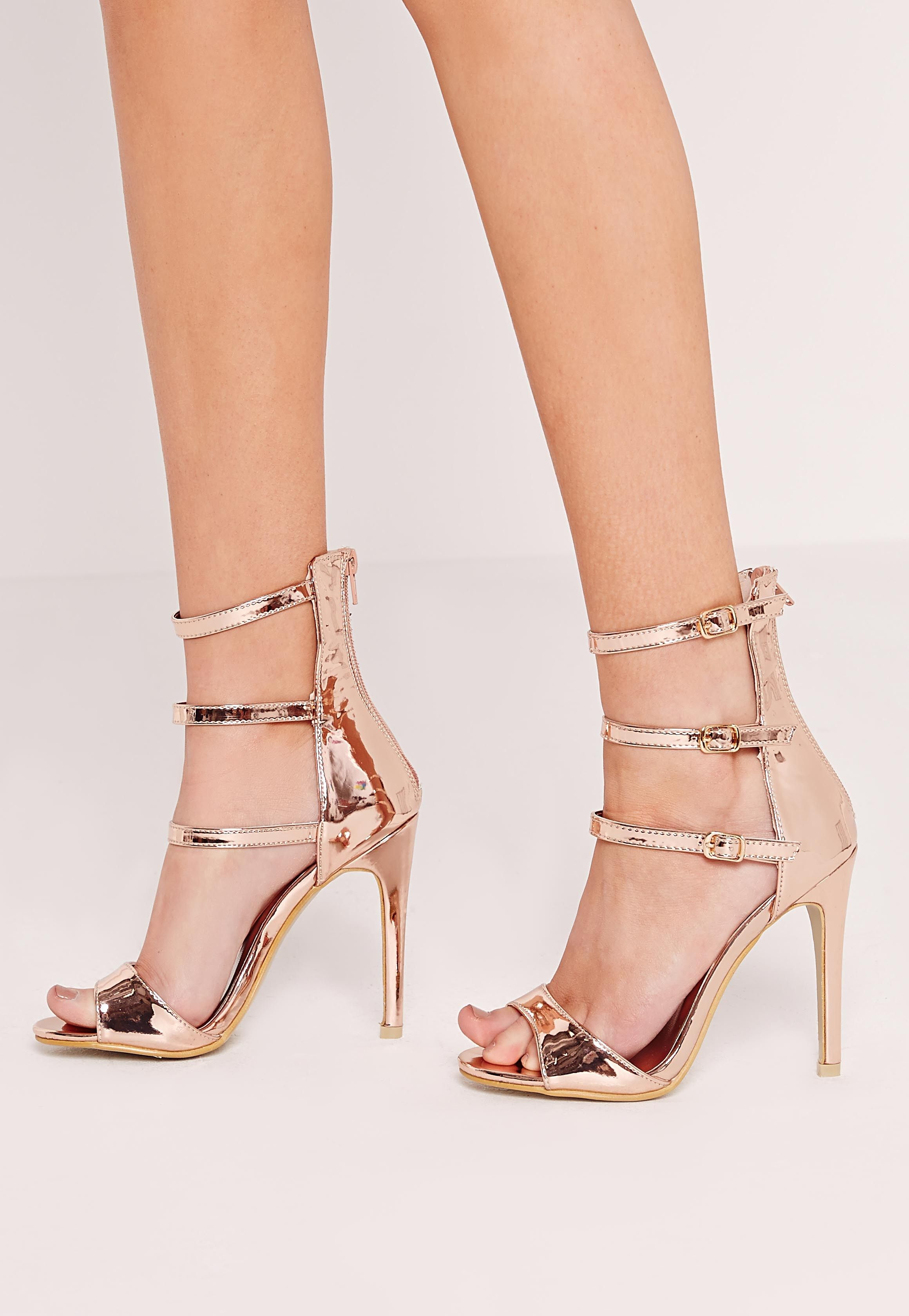 37015955442e Missguided - Rose Gold Buckle Three Strap Barely There Heels