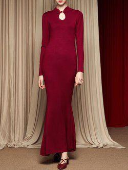 ce7b63b65dfa Burgundy Cotton-blend Long Sleeve Flounce Keyhole Sweater Dress ...