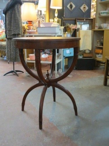 SOLD Vintage Antique Round Lamp Table With Leather Top, Circa 1940s #table