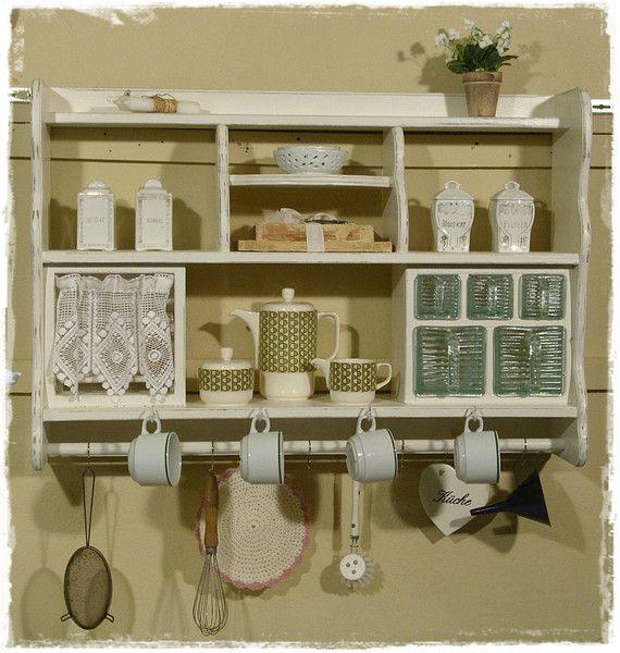 k chenregal wandregal sch ttenregal shabby chic von ansolece auf smool and doll. Black Bedroom Furniture Sets. Home Design Ideas
