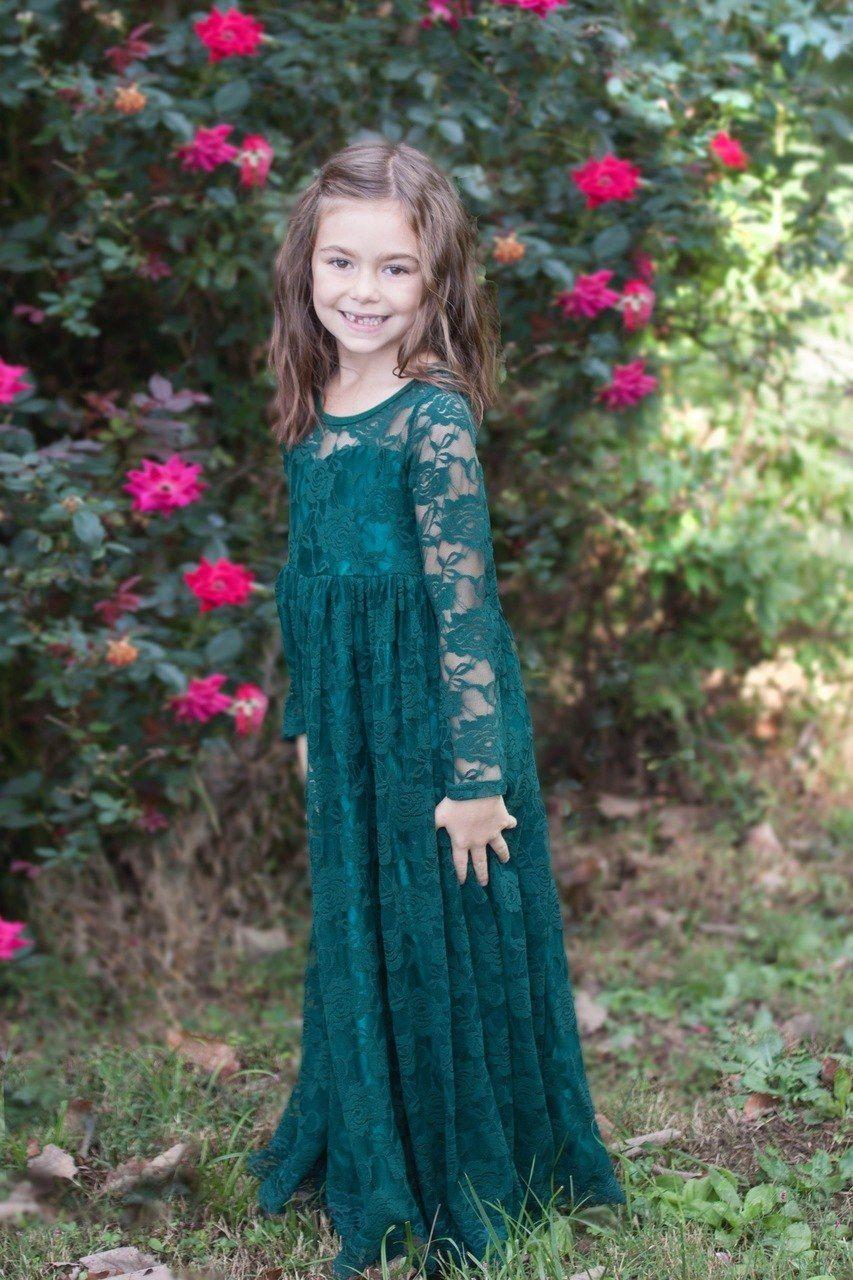 Dark Green Lace Sweetheart Dress Flower Girl Wedding Tulle Girl Toddler E Long Sleeve Bridesmaid Dress Winter Flower Girl Dress Green Flower Girl Dresses