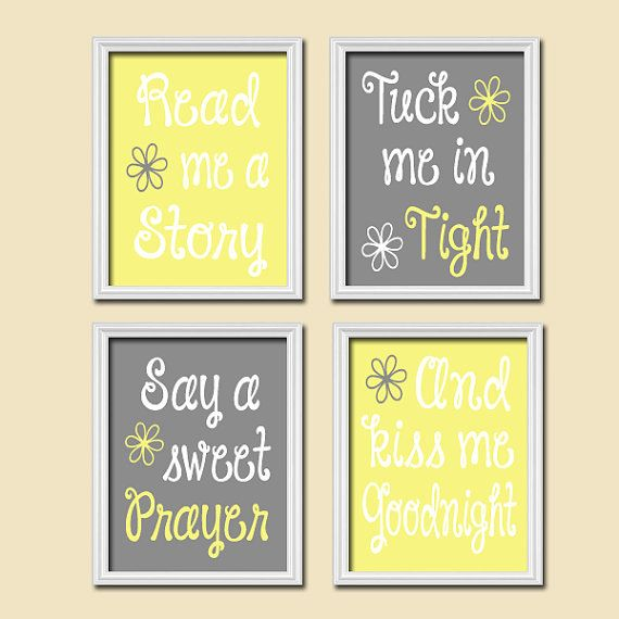 Cute Yellow Grey Gray Kiss Me Goodnight Quote Crib by trmDesign ...