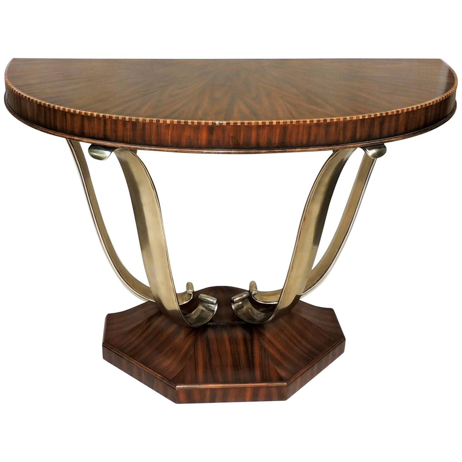 Wonderful french art deco exotic macassar ebony brushed steel wonderful french art deco exotic macassar ebony brushed steel console table geotapseo Image collections