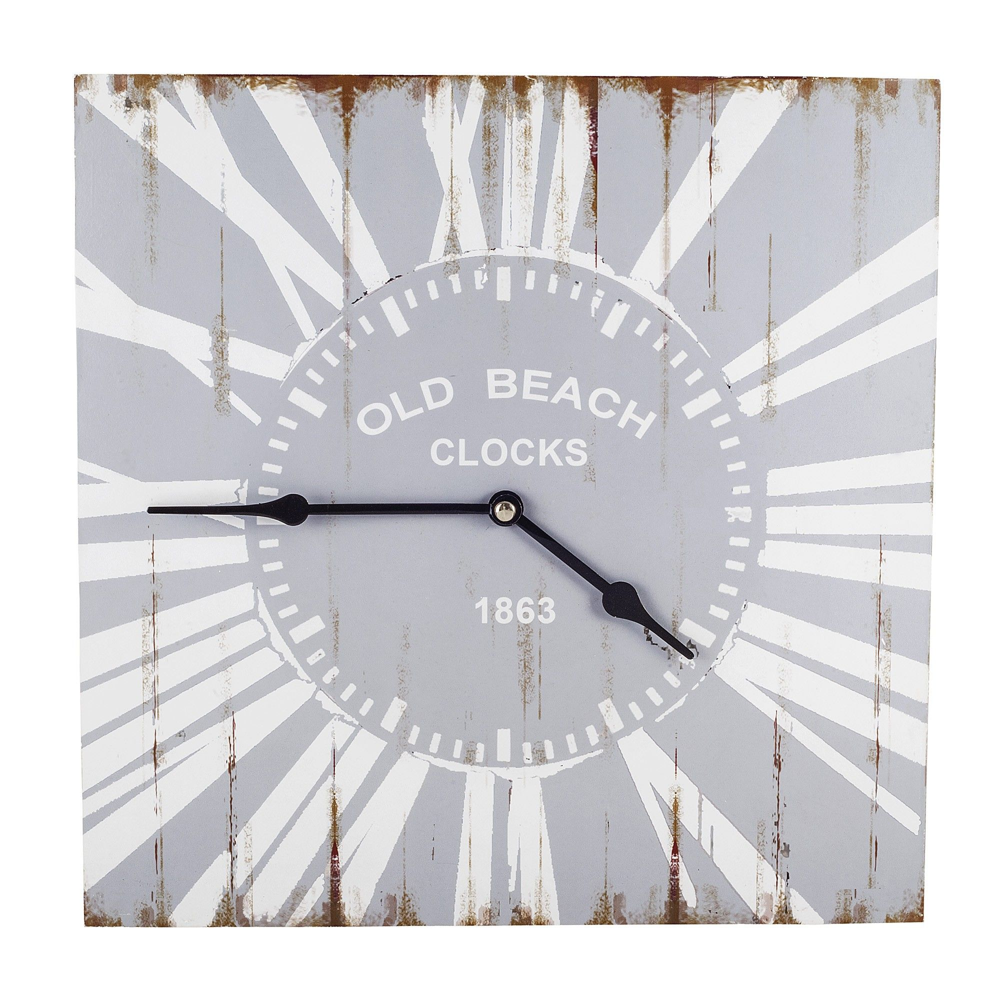Skye old beach style wooden square home wall clock home skye old beach style wooden square home wall clock home accessories amipublicfo Image collections