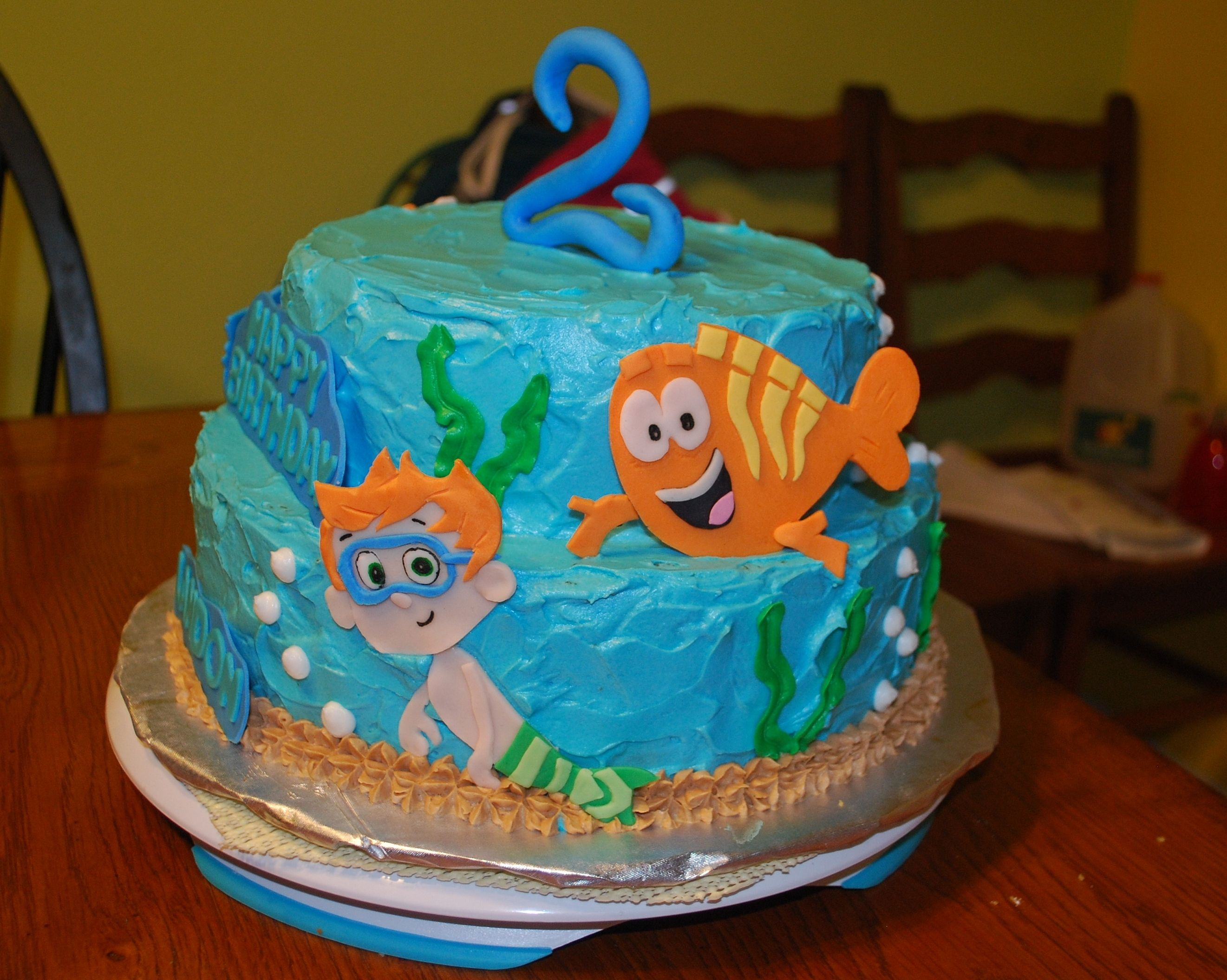 bubble guppies two tier yellow cake with buttercream icing the
