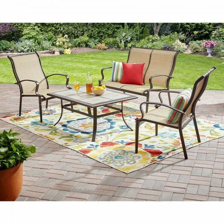 Outdoor Conversation Set Of 4 Steel Loveseat Chairs Coffee Table