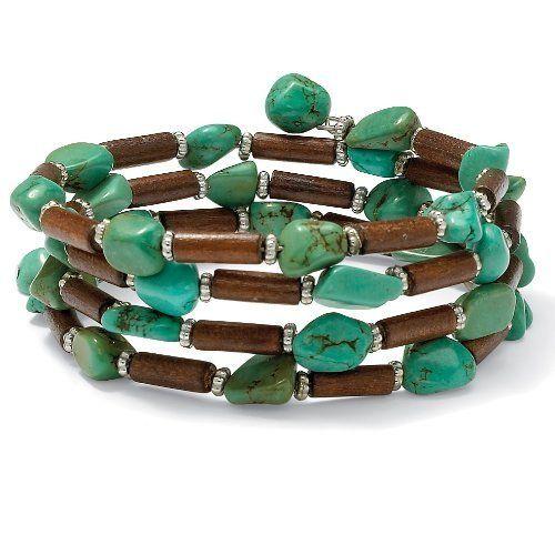 "Nugget Cut Viennese Turquoise Genuine Wood Silvertone Metal Beaded Wrap Bracelet 7 1/2"" Palm Beach Jewelry. $13.98"
