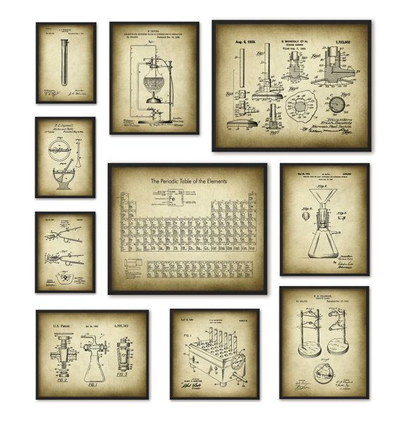 chemistry art print set of 10 periodic table of elements vintage chemistry patent laboratory equipment chemistry student teacher gift - Periodic Table Of Elements Vintage
