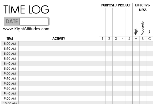 Log Where Time Actually Goes    Time Log Template