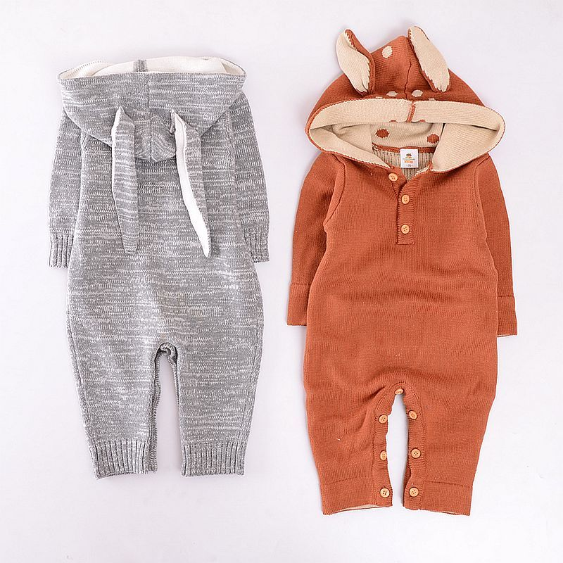 US Toddler Baby Boy Girl Kid Hooded Romper Autumn 100/% Cotton Outfit Clothes Set
