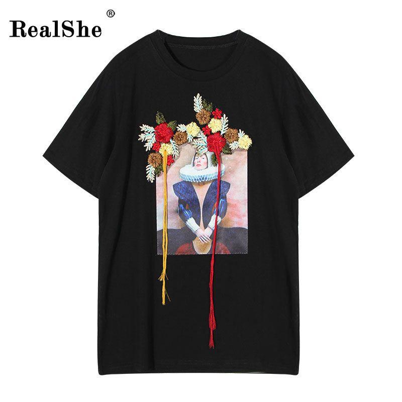 >> Click to Buy << RealShe Fashion Brand T Shirt Women Image Printed T-shirt Women Tops Tee Shirt Femme New Arrivals Hot Sale Casual Sakura #Affiliate