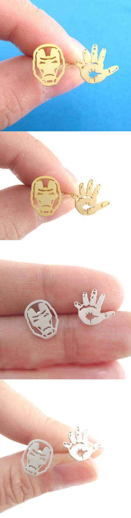 IRON MAN MASK AND GLOVE SHAPED STUD EARRINGS! Click The Image To Buy It Now or Tag Someone You Want To Buy This For. #ironman