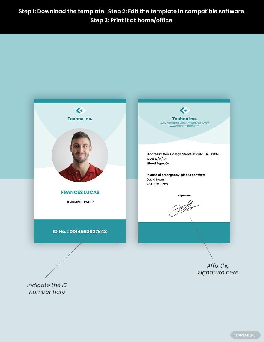 Elegant It Id Card Template Word Psd Apple Pages Google Docs Illustrator Id Card Template Card Template Card Templates Free