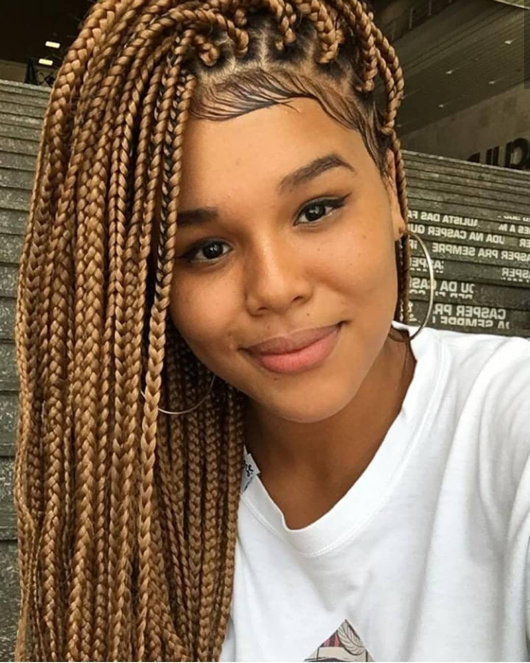 Box Braids Hairstyles For African American Black Women And White Women Box Braids Medium Box Braids Sho Hair Styles Braided Hairstyles Box Braids Hairstyles