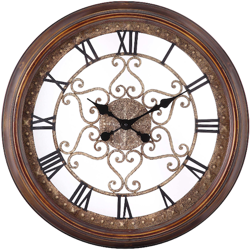 The Audrey 24 Oversized Wall Clock From Cooper Classics Is An Incredibly Designed Skeleton Clock That Will Oversized Wall Clock Wall Clock Pendulum Wall Clock