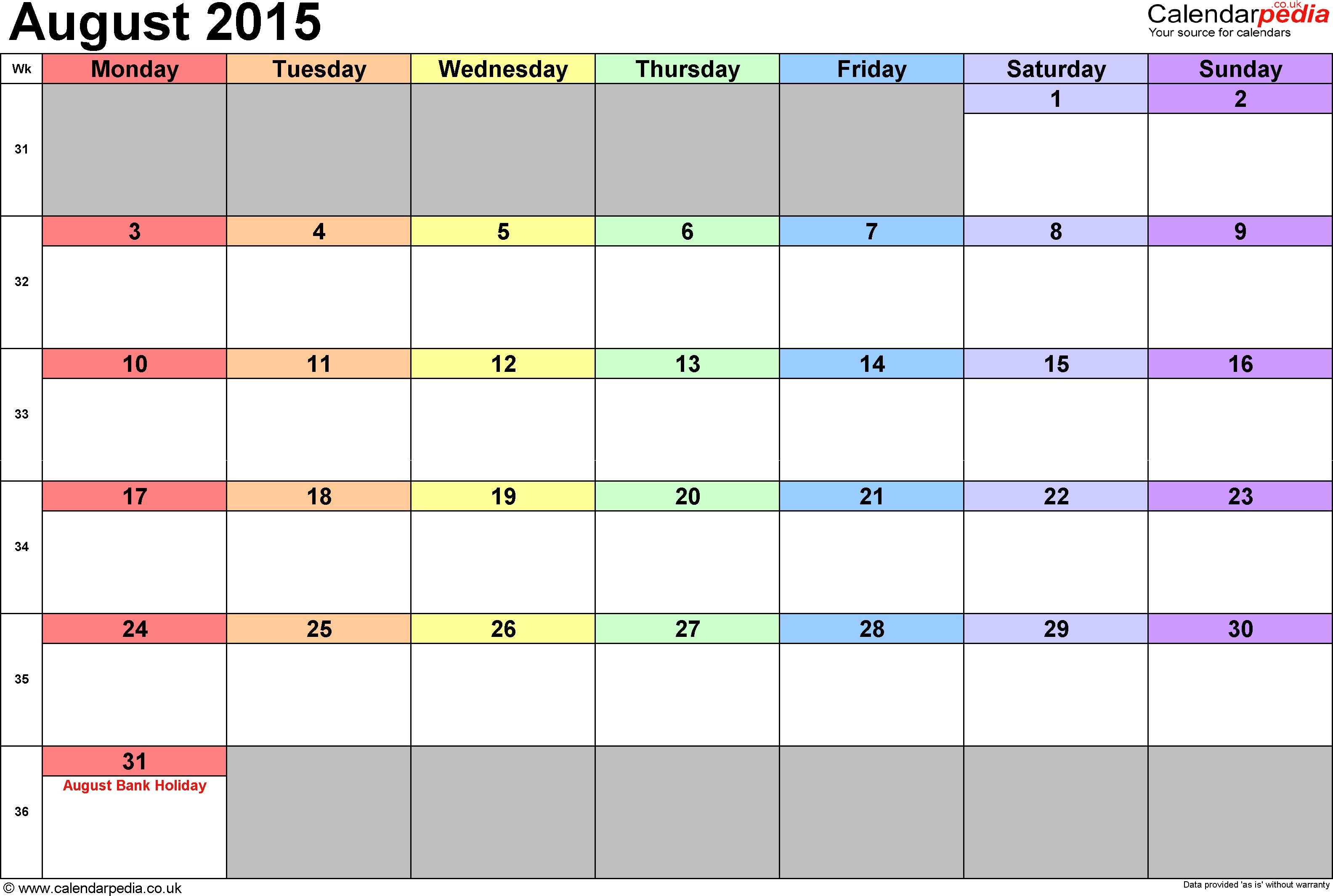 download monthly calendar 2015