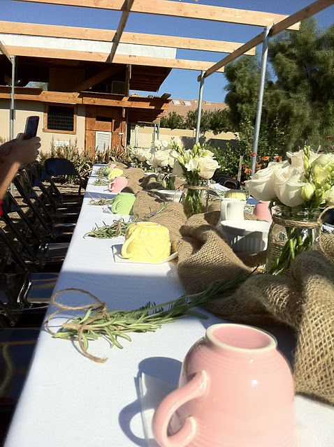 Our farm table all decorated under the new Garden Arbor my