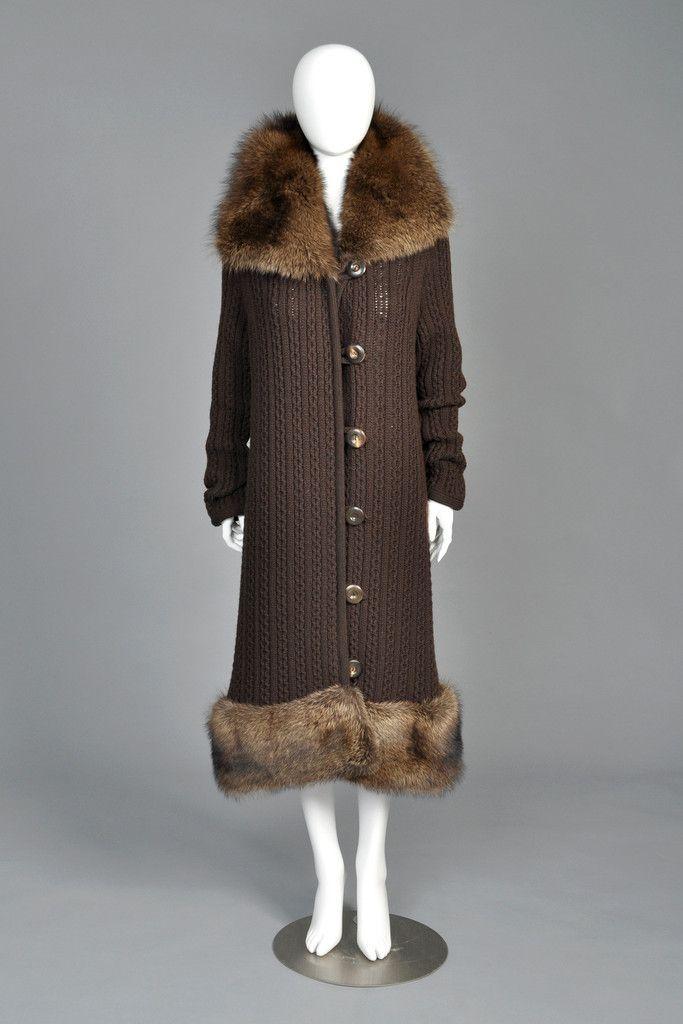 Oscar de la Renta Cashmere + Fisher Fur Sweater Coat