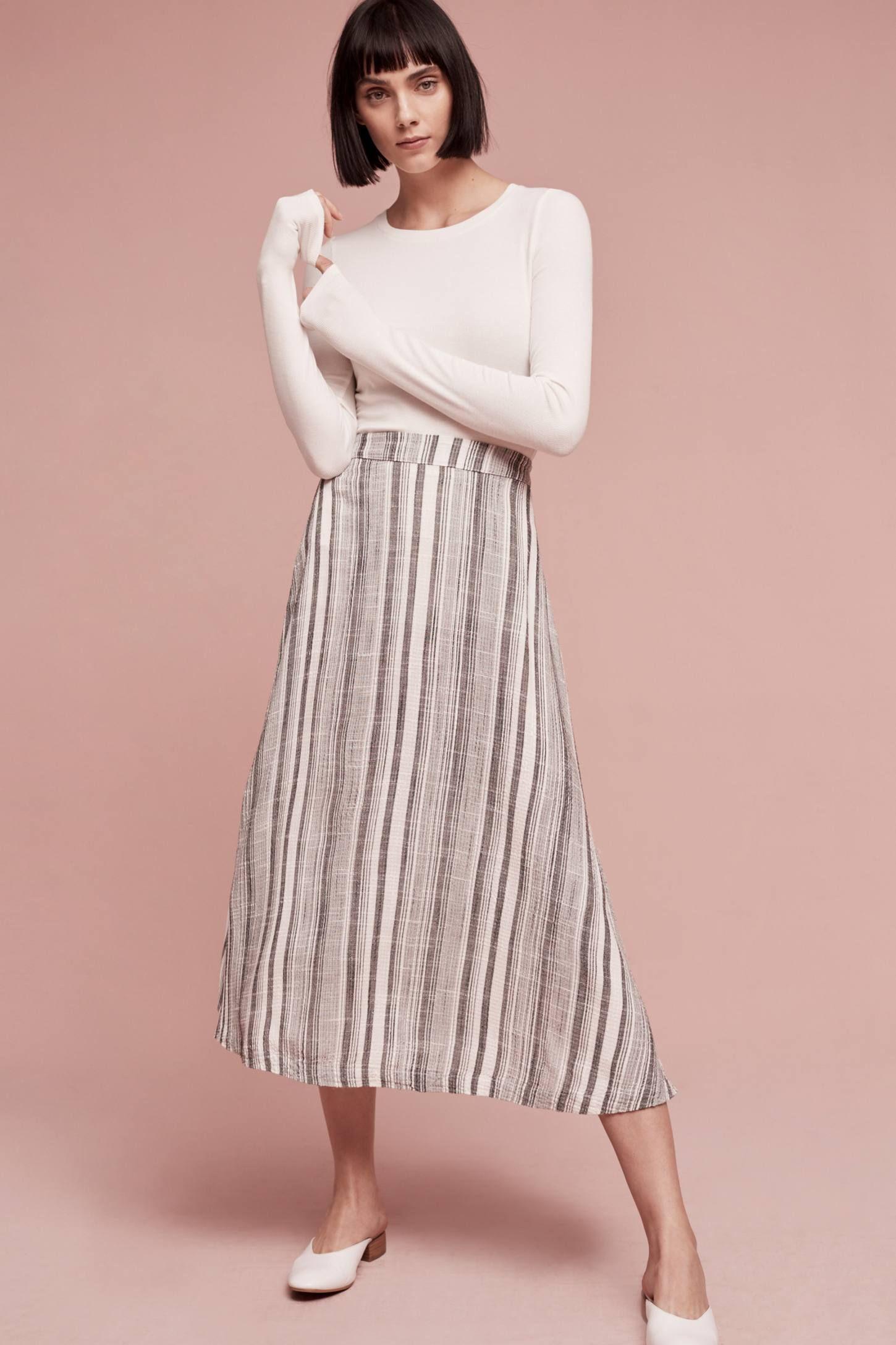 Slide View: 1: Clara Striped Midi Skirt
