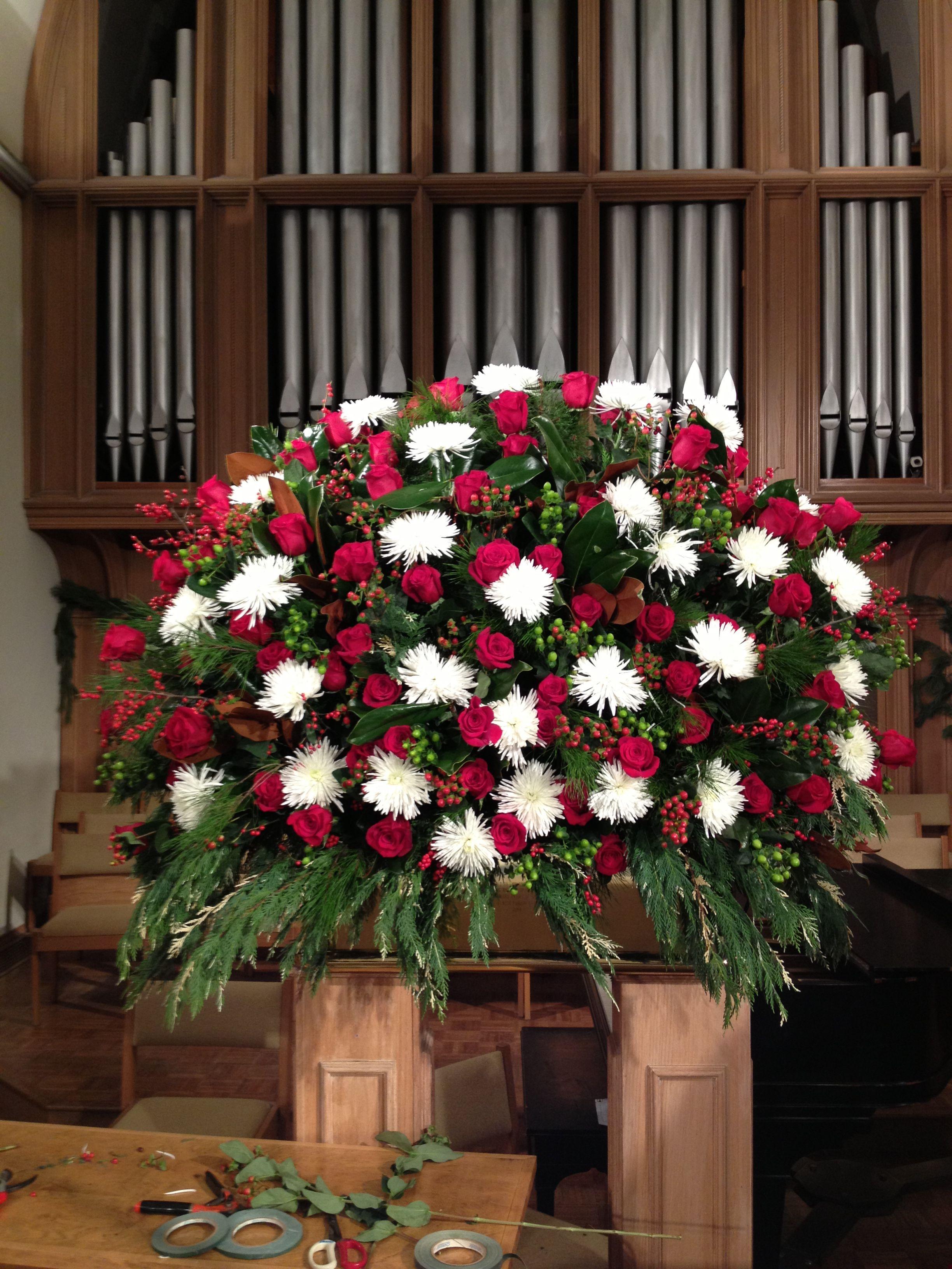Altar arrangement Christmas Church flowers, Christmas