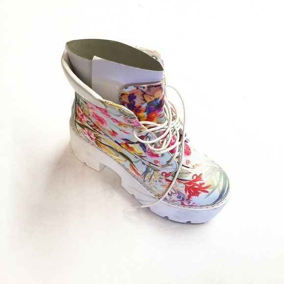 Chucky Floral Boots Thick sole Boots, floral print front tie Qupid Shoes Heeled Boots