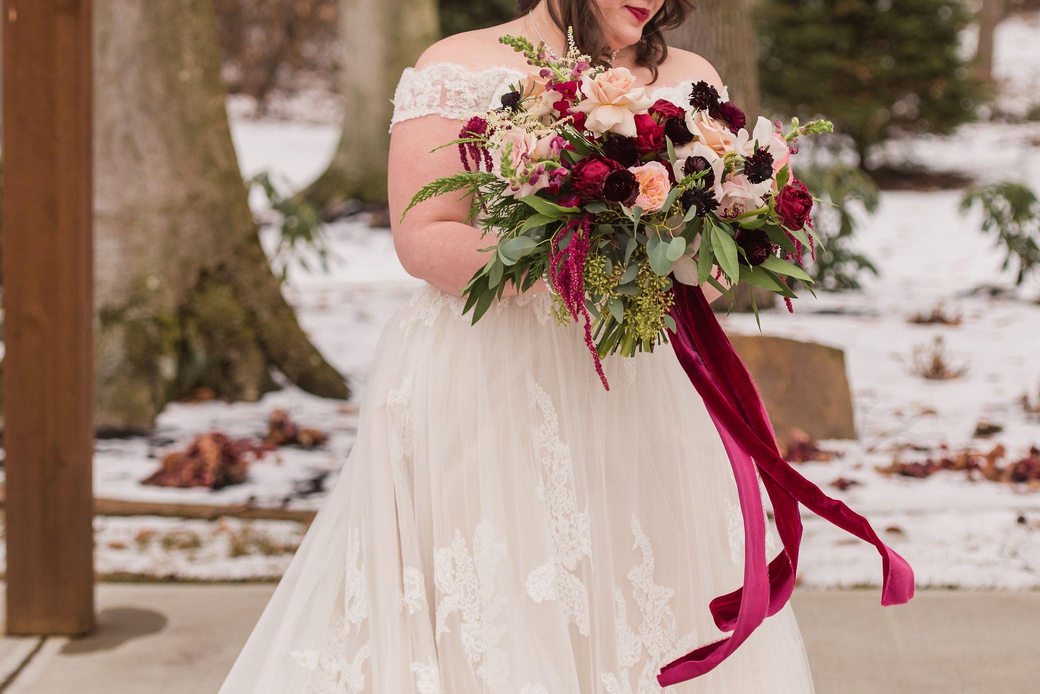Southern Indiana Winter Wedding Burgundy And Blush Winter Bridal