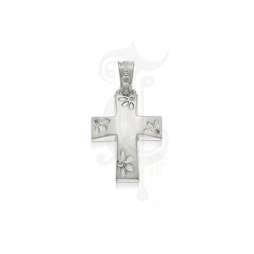 Ένας μοντέρνος και ιδιαίτερος σταυρός γυναικείος ή βαπτιστικός του οίκου ΤΡΙΑΝΤΟΣ από λευκόχρυσο Κ14 με λουλούδια στα άκρα #τριαντος #γυναικειος #βαφτιση #λευκοχρυσο #σταυρος