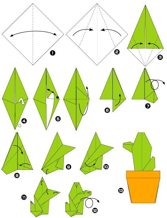 diagram of origami of cactus origami flowers origami. Black Bedroom Furniture Sets. Home Design Ideas