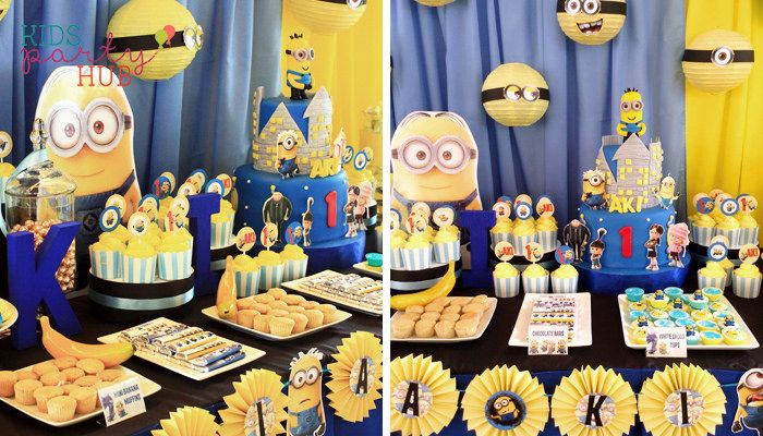 Cute and adorable Minions is the party theme of Aki's Birthday Party.  Dessert and Candy Buffet Table decorations were creatively made from paper  lanterns ...