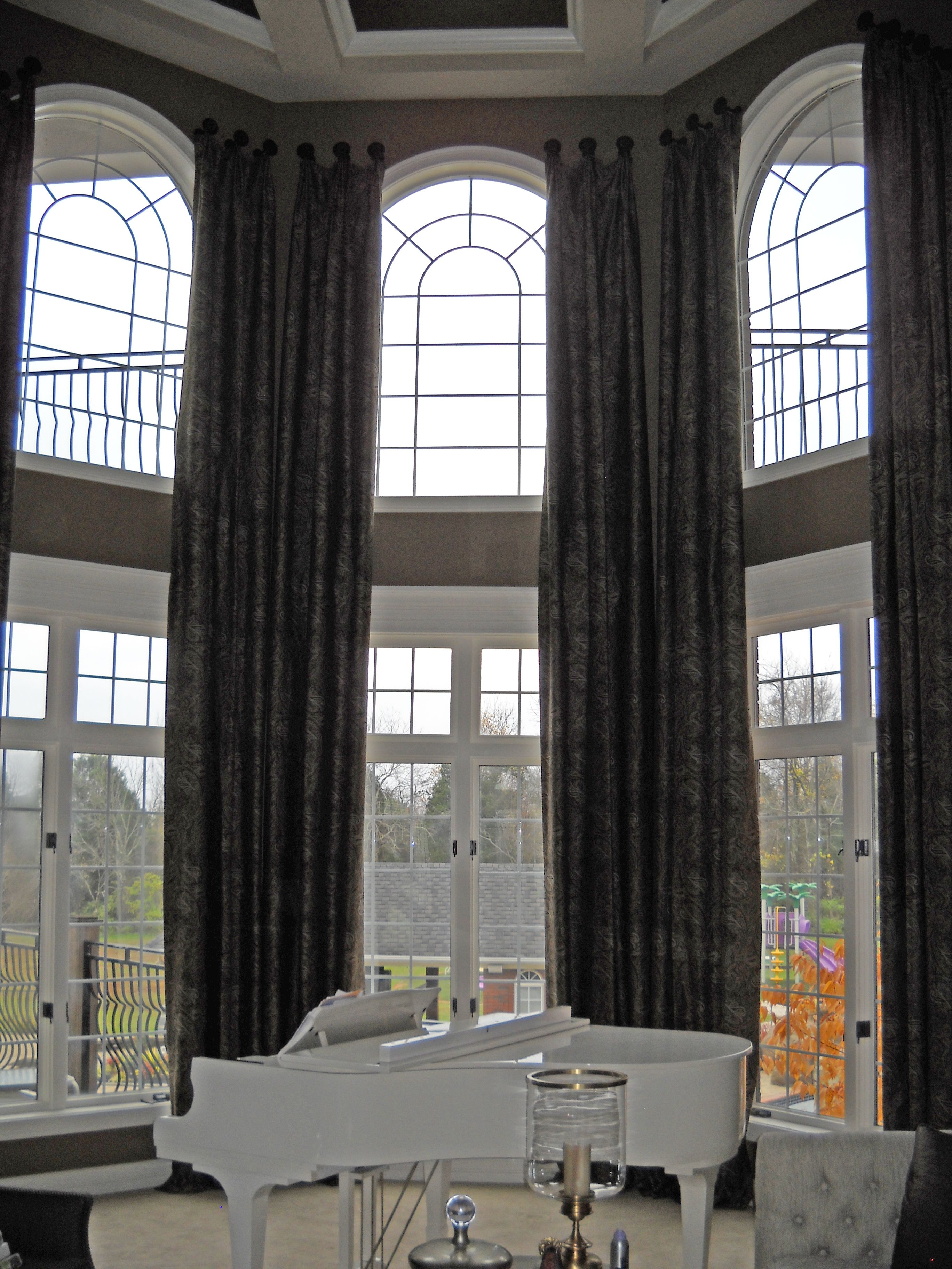 dsc rings atrium curtain rod and two panels installations story curtains treatments window with