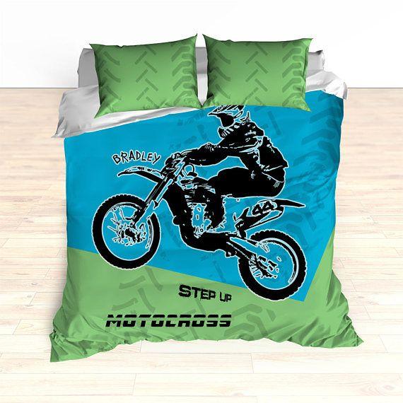 Motocross Bedding Personalized Comforter Duvet Dirt Bike