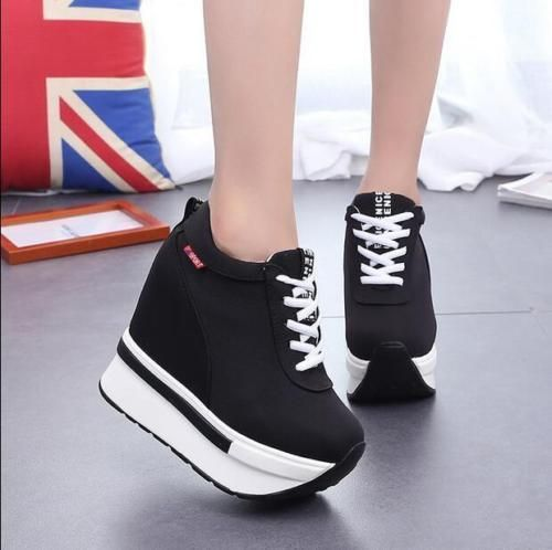 Womens Hiden High Heel Muffin Shoes Breathable Comfort Lace Up Casual Sneakers