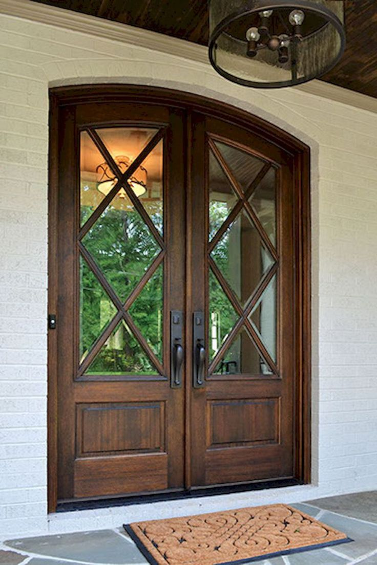 90 awesome front door farmhouse entrance decor ideas 26 - Front doors double doors exterior ...