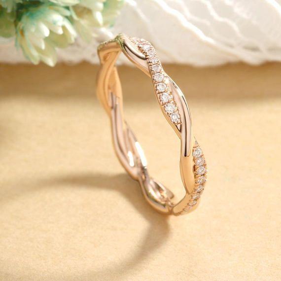Infinity Wedding Band Rose Gold Diamond Eternity Band Twisted