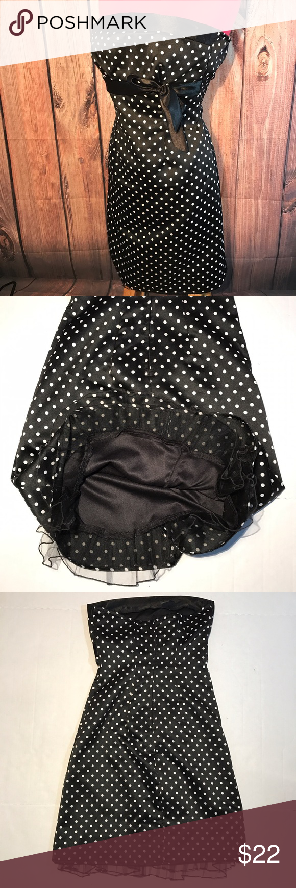 Trixxi polka dot lined fancy party prom dress as 3 Super cute polka dot black lined dress. Back zip. In great condition. Party or prom fancy dress. Trixxi Dresses Midi