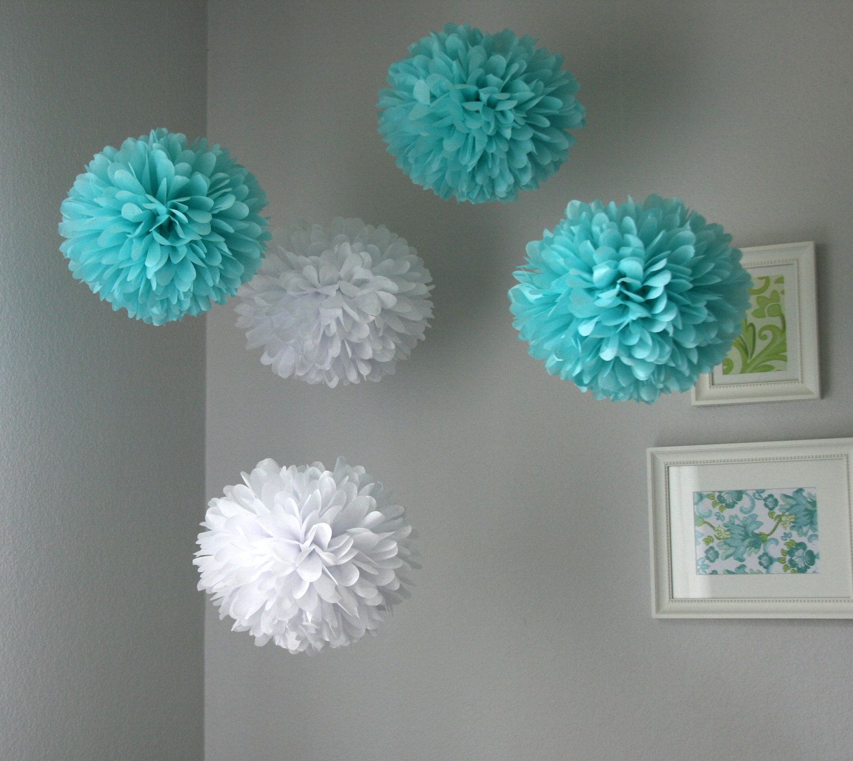 Aqua white tissue poms bid day at pm bridal shower for Paper decorations diy