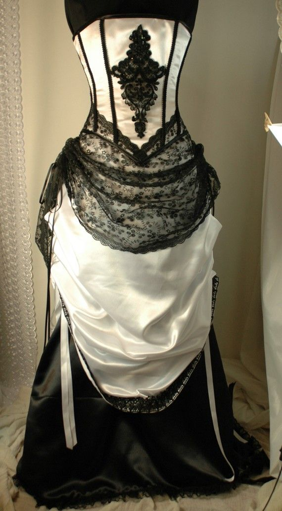 Cassandra custom made black and white wedding gown with for Steel boned corset wedding dress